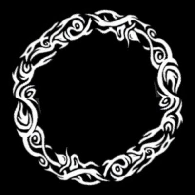 Tribal Fire Black and White round preview