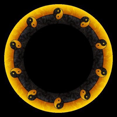 Yin and Yang yellow and black round preview