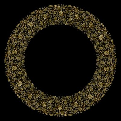 Gold Pattern Floral Paisley Fractal round preview